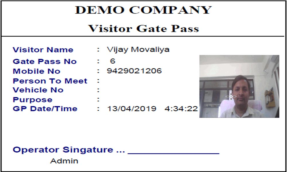 Visitor Gate Pass With Image